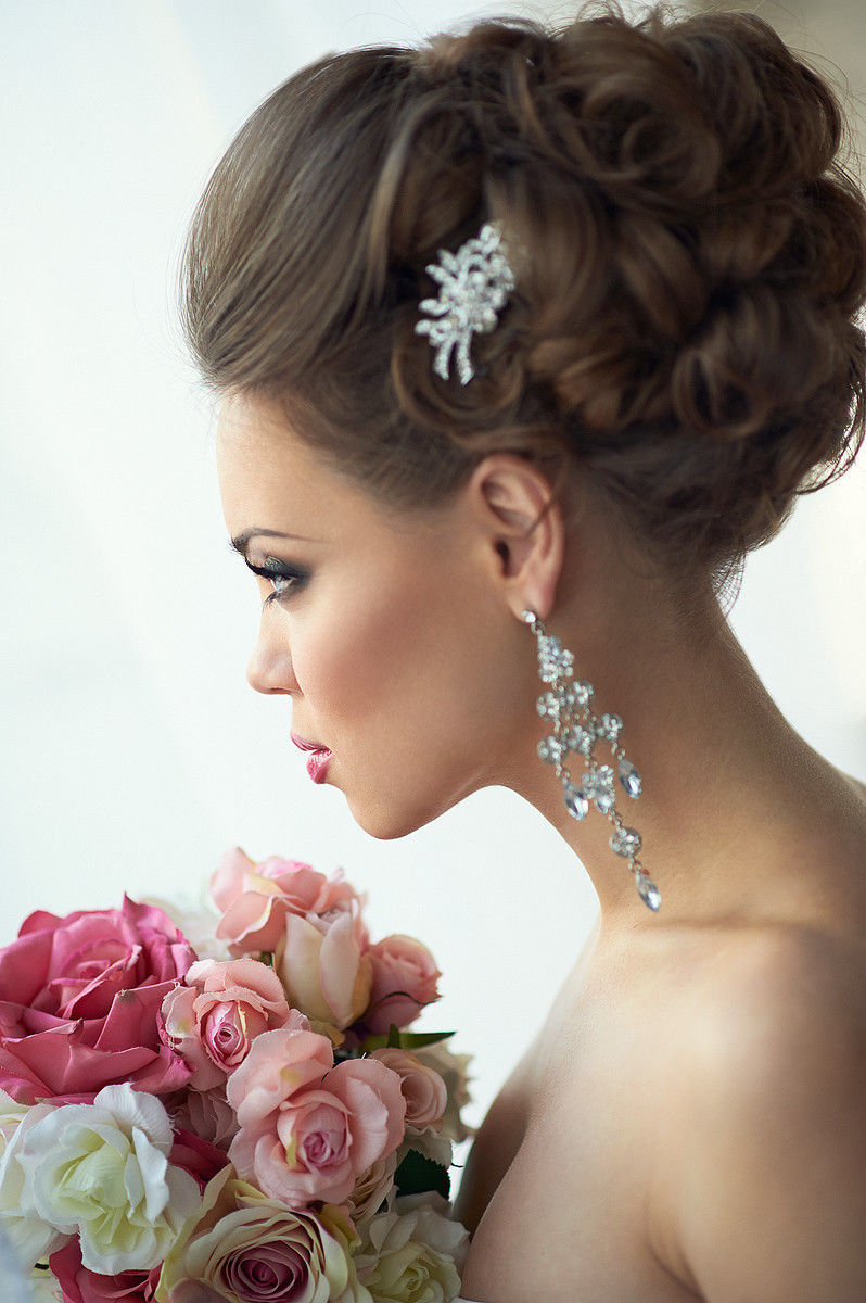 свадебные прически волосы наверх
