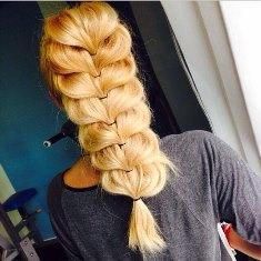 оригинальное плетение косы с резинками