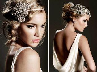 свадебная прическа с повязкой, лентами, обручами