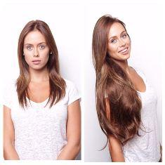 волосы на заколках до и после наращивания фото